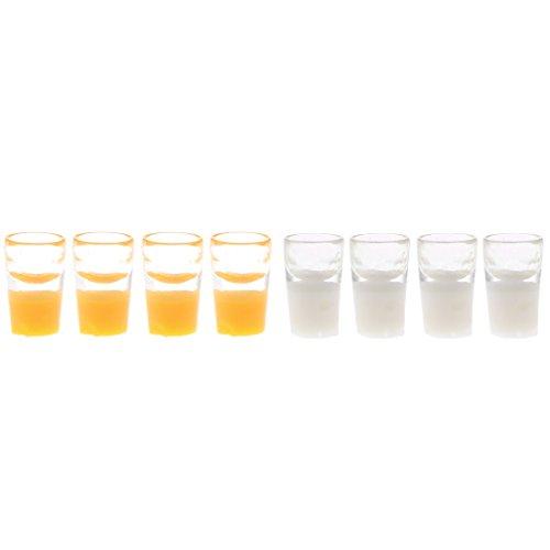 tur Milch Tasse Milchglas mit Milch + 4 Miniatur Orangensaft Tasse Saft Glas für 1:12 Puppenstube - 10mm * 6mm (Milchglas-tassen)