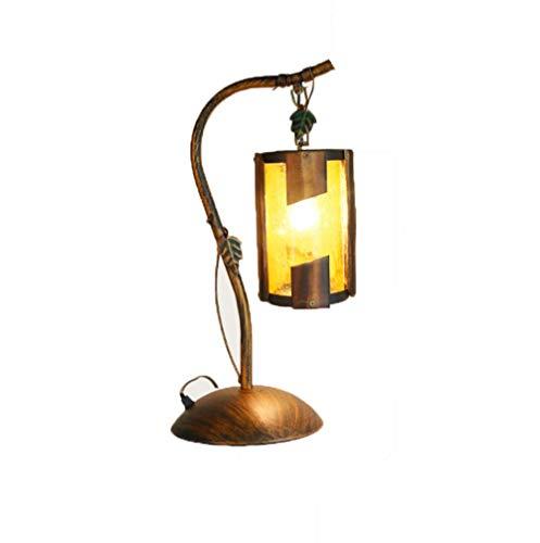 YAMEIJIA Ländliches Eisen-Tischlampe Café Restaurant Schlafzimmer Studie Bambuslampe Kreative Dekorative Öllampe E27-Ohne Lichtquelle 220V