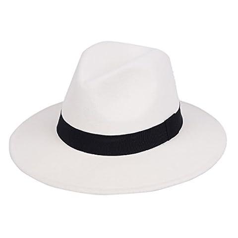 Chapeau de Panama en feutre 100% laine avec large bord classique Fedora pour homme et femme de mou - blanc -