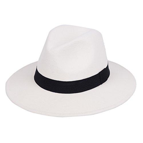 Fedora Hut 100% Wolle Filz Panama Classic mit Vorderseite Center Delle Krone breiter Rand Wasser Resistent für Männer und Frauen Trilby (Hart, Hut, Zubehör)