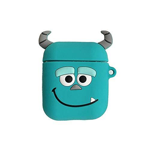 Lovely Cartoon Style Tragbare Schlüsselanhängerhülle Silikon Aufbewahrungsbox für AirPods Blaues Monster Monster-schloss
