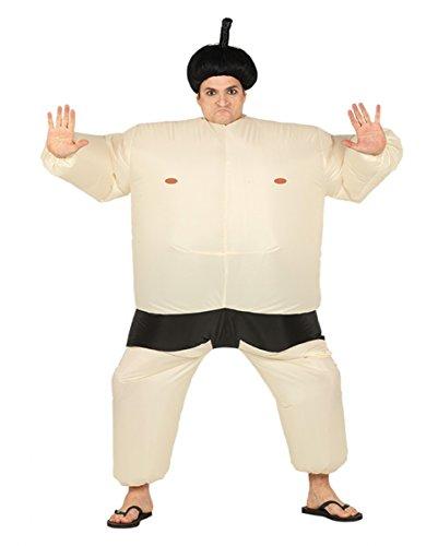 Beiges Sumo Ringer Kostüm zum Aufblasen für Fasching One (Sumo Ringer Perücke)
