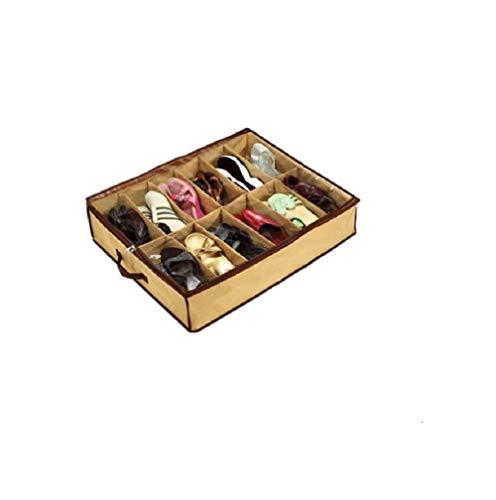 Romote negocio grande 12 pares ordenados de zapatos debajo de la cama Tela organizador del almacenaje de la caja del sostenedor del bolso del caso del armario