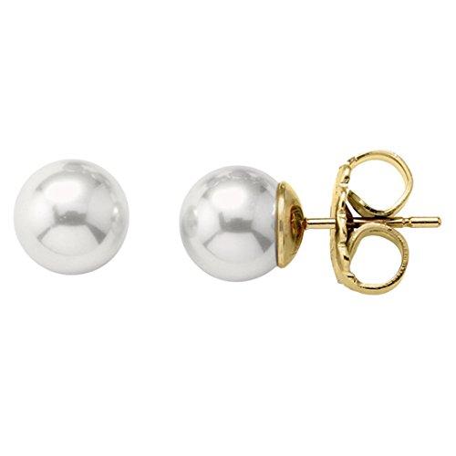 Majorica Basico - Pendientes de plata con perla con cierre de mariposa a presión