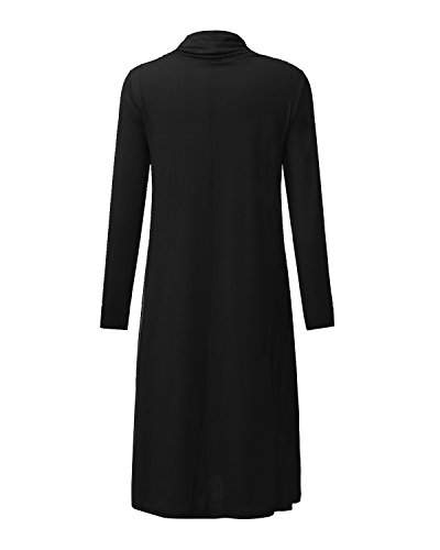 StyleDome Femme Robe Pull Longue Vintage Col Bénitier Manches Longues Casual Lâce Large Robe Maxi Noir