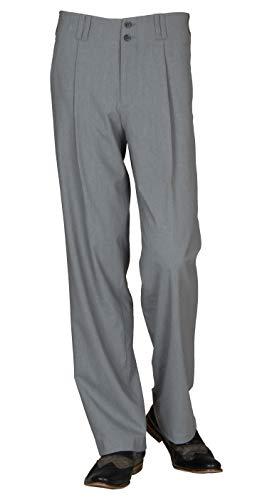 Bundfaltenhose in Grau Model Swing Vintage Herren Hose mit Gerade geschnittene Beine Swing Outfit Herrn Anzughose Hose mit Bundfalte Größe 54