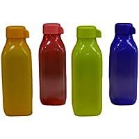 Tupperware cuadrada botella de agua, 500ml con tapón de rosca, conjunto de 6, Multicolor