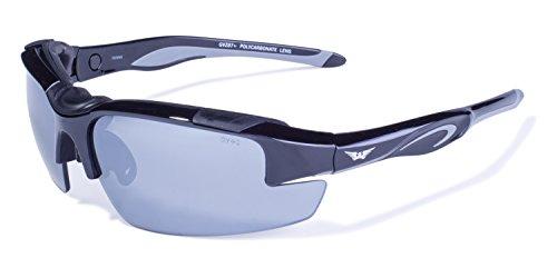Global Vision Eyewear Ninja Sicherheit Gläsern mit Rahmen und Schwarz glänzend Flash Mirror Objektive