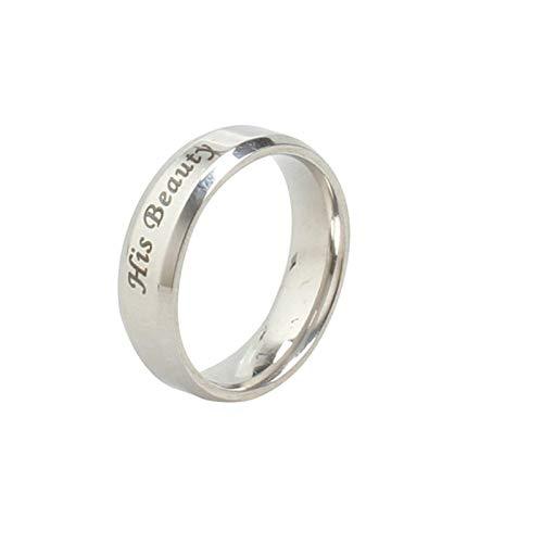 Aienid Herrenring Edelstahl Breit Silber Ihr Biest Und Seine Schönheit Ring Herren Size:67 (21.3) (Und Schöne Das Die Paare Biest)