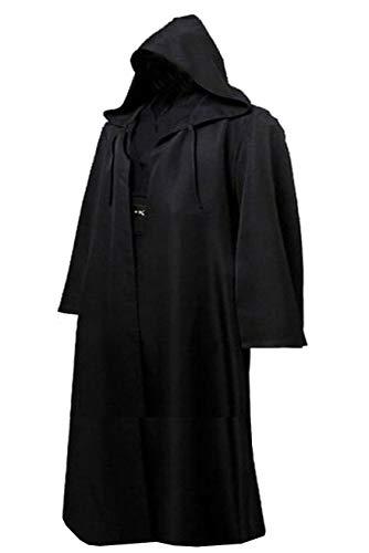 Amayar Herren Kapuzenmantel Umhang Knight Fancy Cool Cosplay Kostüm Gr. XL, schwarz - - Custom Made Jedi Kostüm