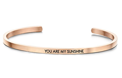 (Armreifen roségold YOU ARE MY SUNSHINE, Hochwertiger Edelstahl IPR (316L) halboffen, faccettierter Kristall, Frauen Stulpe-Armband, Armspange Metall Schmuck)