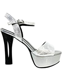 Sandalo Legs Argento Sandali Donna Tacco Alto Plateau Particolare Cerimonia  Elegante Scarpe Matrimonio Shoes Silver Woman Sandal High Heel… 8c17c5f43fa