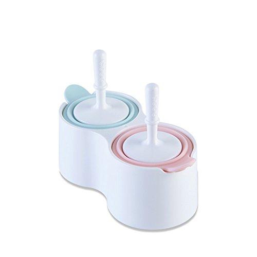 NEWELL DIY Silikon Popsicle Formen Set, Food-Grade ungiftig Schimmel, Kinder Süße Eiscreme-Modell, Eis am Stiel Schimmel, Blau + Rosa, 002 (Et Holzstäbchen Bürste,)