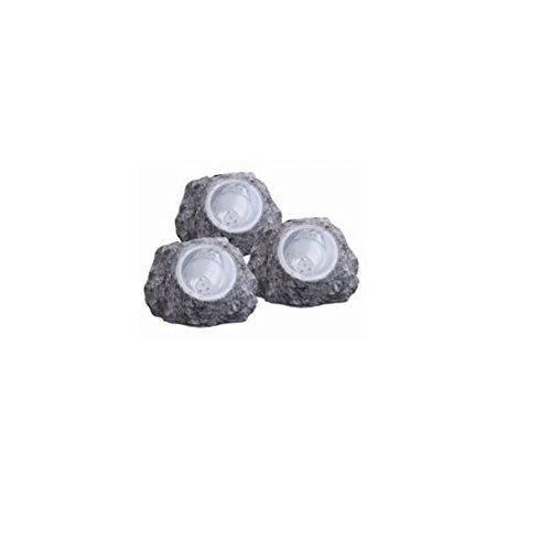 Solar -Steinleuchte mit LED- Lichttechnik | Solarleuchten 3-er Set | Außenleuchten inklusive LED - Taschenlampe