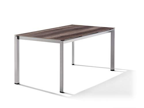 SIEGER Table HPL/POLYTEC 160x90cm Gris Clair/Plateau chêne foncé