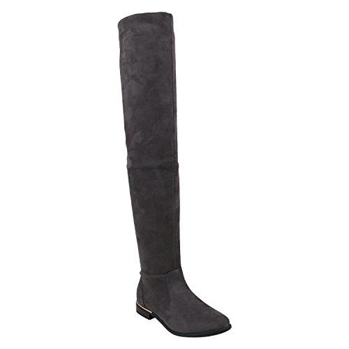 Basic Damen Overknees Schleifen Stiefel Samt Flach Langschaftstiefel Overknee Boots Blockabsatz Schuhe 144220 Grau Gold 39 Flandell