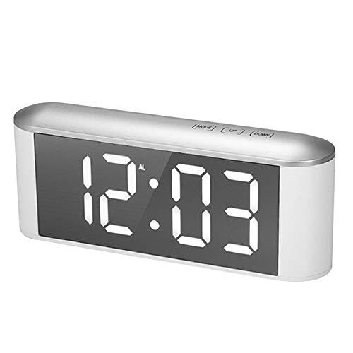 Digitaler Wecker,Wecker Funk,Multifunktions-Dimmable LED-Digital-Thermometer-Wecker mit USB-Kabel für zu Hause Schlafzimmer Wohnzimmer Weiß