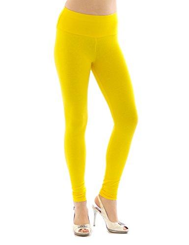Kostüm Frauen Minion - YESET Damen Leggings hoher Bund Lange Hose Leggins lang Baumwolle Wäsche gelb XXL
