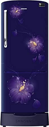 Samsung 192 L 4 Star Direct Cool Single Door Refrigerator(RR20M182YU3/HL, Rose Mallow Blue, Base Stand with Drawer, Inverter Compressor)