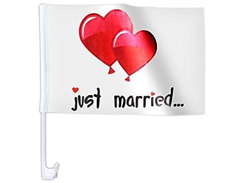 Lot de 10 drapeaux décoration cortège de mariage JUST MARRIED 'AFL-10B' drapeau voiture mariès Motif ballon de baudruche en forme de coeur rouge romantique amoureux sympa original décorer la voiture d'honneur et balai Clip de fixation sur vitre ou carrosserie