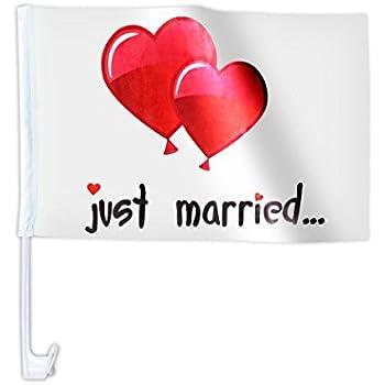 Lot de 20 drapeaux décoration cortège de mariage JUST MARRIED \u0027AFL,10B\u0027  drapeau voiture mariès Motif ballon de baudruche en forme de coeur rouge