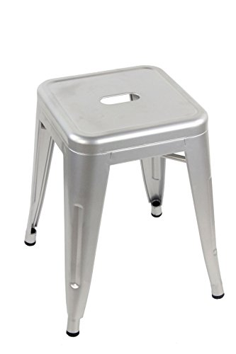 ARREDinITALY Tabouret Bas empilable en métal Style Industrial Tolix - réplique en métal Gris métallisé