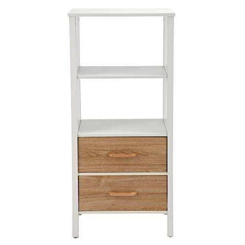 Aingoo Open 4-Tier Regal Bücherregal Mehrzweckregal Bücherregal Schrank mit 2 Schubladen Weiß