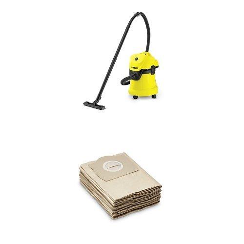 Karcher wd3 aspiratore multifunzione+karcher 6.959-130.0 sacchetti filtro per mv 3, 5 pezzi