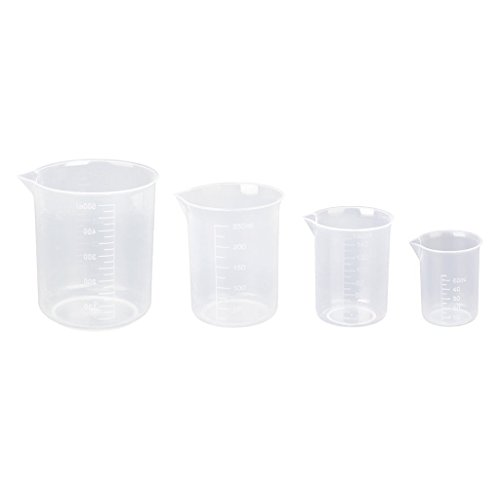 4 x Kunststoff Graduated Becher transparent 50 150 250 500 ml