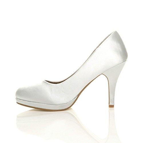 Donna tacco alto medio lavoro sera festa semplice décolleté scarpe taglia Raso argento