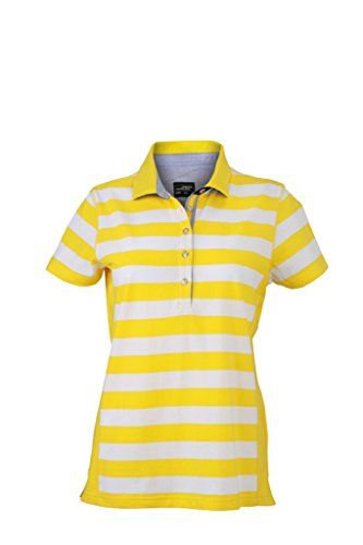 JAMES & NICHOLSON Polo in modischem Streifen Design sun-yellow/white