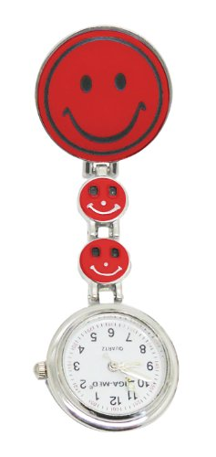 Schwesternuhr Smiley Special Rot Clip und Batterie Tiga-Med Kitteluhr Krankenschwesteruhr Pflegeruhr Pulsuhr