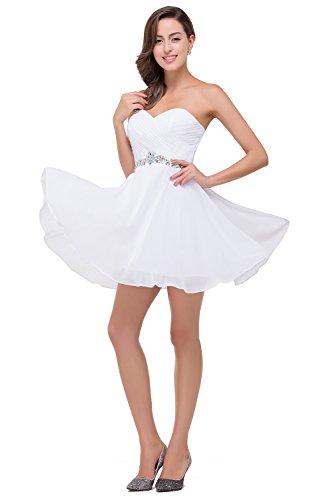 Babyonlinedress Elegant Sexy Robe de Demoiselle d'Honneur/Soirée/Cocktail/Cérémonie Courte Bustier Col Cœur avec Diamant Crystal en Mousseline de soie Blanc