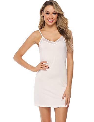 Aibrou Damen Sexy Nachthemd Kurz Negligee Nachtkleid Sommer Nachtwäsche Unterkleid Trägerkleid Weiß S