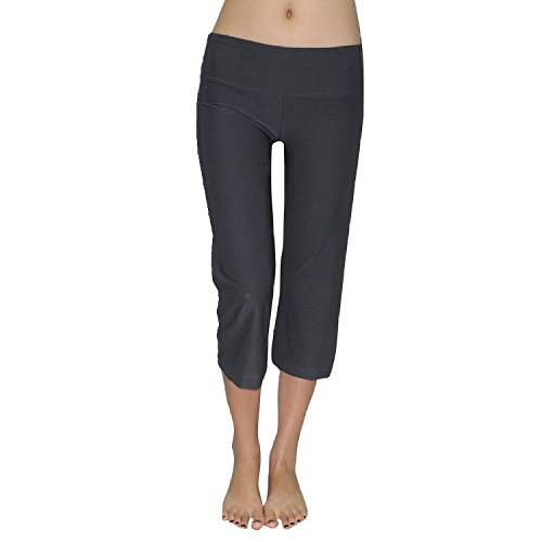 Bally Total Fitness Damen Casual-wear Lounge Hose /Yoga Capri Hose Large Grau (Athletic Capri Wear)
