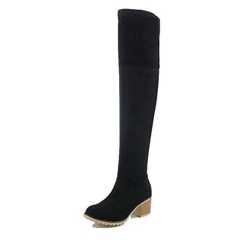 VogueZone009 Donna Punta Tonda Tacco Medio Alta Altezza Puro Stivali con Fibbia Nero
