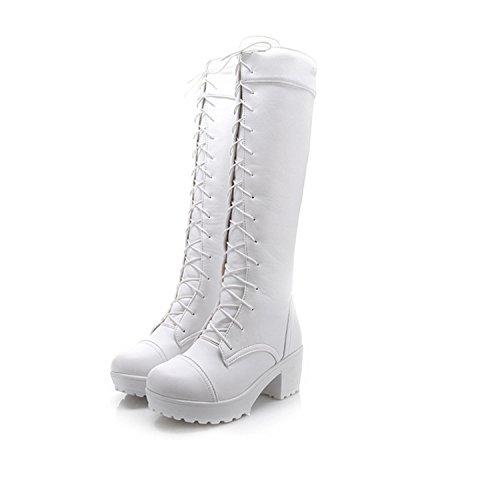 Nonbrand Damen Blockabsatz synthetischer Mitte Kalb Stiefel Weiß