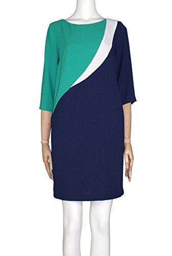 Hanita Damen Kleid BLU BIANCO VERDE XS (Stil Kleid Sophias)