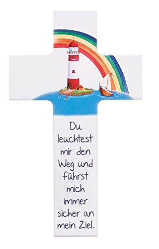 FRITZ COX® - Kinder- Holzkreuz: 'Du bist mein Leuchtturm' - tolles Präsent für Jungen & Mädchen (15cm, weiß)