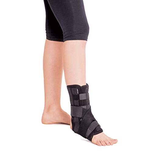 Knöchelbandage mit 5 Verstärkungen am linken oder rechten Bein Small Schwarz