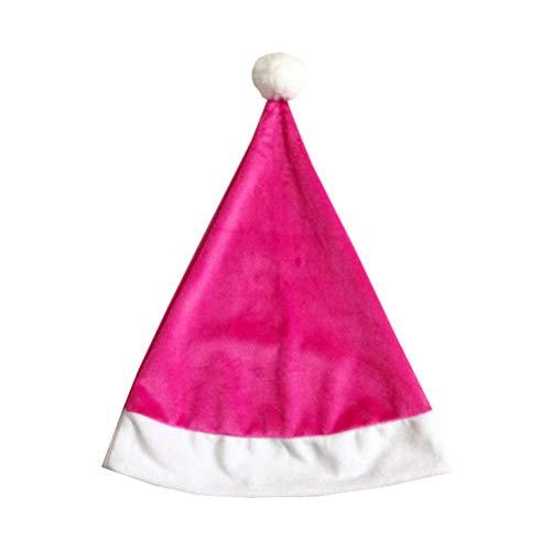 Amosfun Weihnachtsmann Mütze Santa Kostüm Hut Plüsch Weihnachtsmütze für Kinder Erwachsenen Party Cosplay Dekoration (Rosa) (Rosa Santa Kostüm)