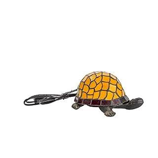 Tischlampe aus Messing mit Tiffany-Glas, mit Lampenschirm, in Form einer Schildkröte