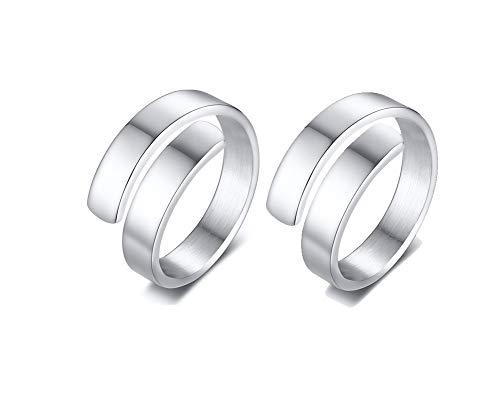 PJ JEWELLERY 2 Stück personalisierte maßgeschneiderte Edelstahl Wrap Ring Band benutzerdefinierte ersten Namen Ring für Frauen, Geschenk für besten Freund, Größe 52 (16.6) -