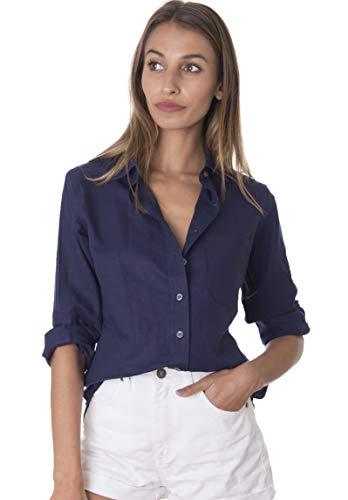 CAMIXA Damen Freizeithemd Slim Fit Button-Down luftige Basic Bluse Gr. Large, Marineblau -