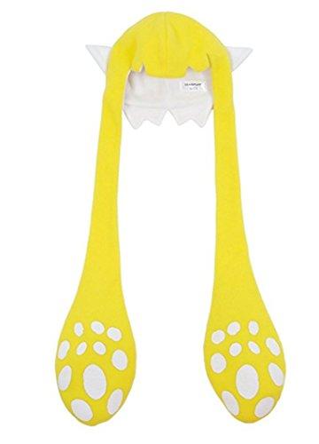 Yanli Cuttlefish Kinder Kids Erwachsene Winter Warm Weichen Plüsch Hood Ohrwärmer Schal Hut (Gelb, S) -