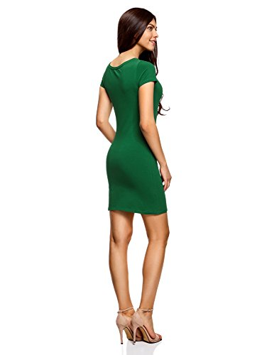 oodji Ultra Damen Enges Jersey-Kleid Grün (6E00N)