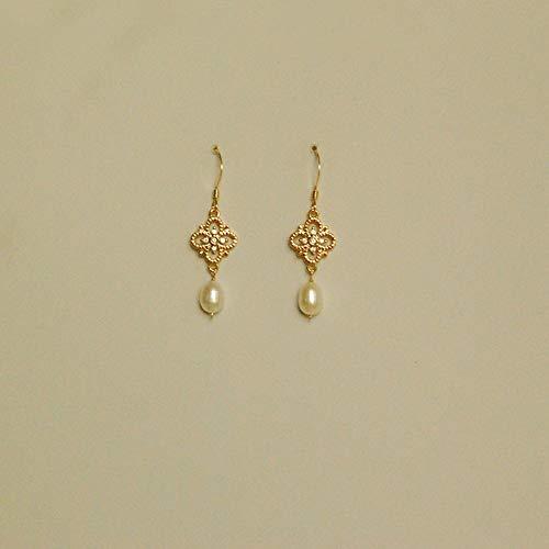 AOTEX Ohrringe 14K Vergoldet Weiblich Zubehör Hohl Muster Süßwasser Perlen Hübsch Süß Girl Zarte Retro Fashion Einfachheit Eleganz Temperament Dating Kreativität -
