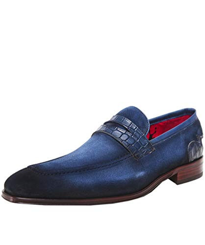 18640ae448 Jeffery West Men s Burnished Suede Soprano Penny Loafers Blue UK 10