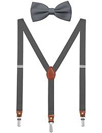 DEBAIJIA Unisex Hosenträger mit Fliege Set für Damen Herren Jugendliche Schick Design 3 Clips Elastisch Gürtel Längeverstellbar 155-180 Körperhöhe