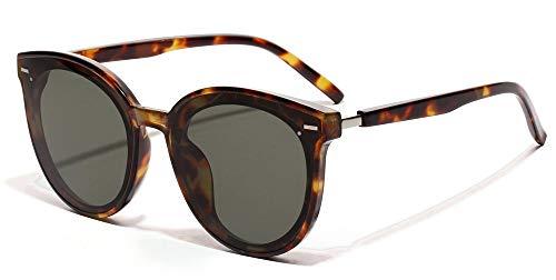 WDXDP Sonnenbrillen Mode Sonnenbrillen Herren Big Frames Leopard Red Niet Unisex Runde Sonnenbrille Für Damen Uv400 Summer Als Show Im Foto Leopard Mit Grün